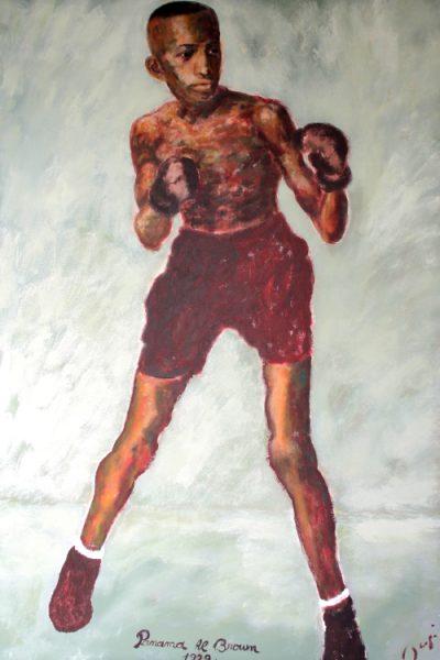Panama Al Brow boxing world champion huile sur toile 150x100 16000e p